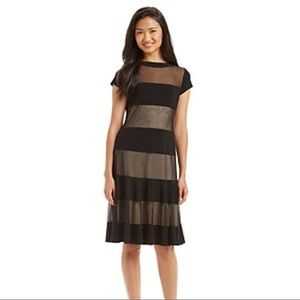 Mesh Stripe A-Line Dress